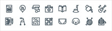 Retirement Home Line Icons. Linear Set. Quality Vector Line Set Such As Bingo, Dog, Sudoku, Crossword, Watering Can, Open Book, Retirement Home.