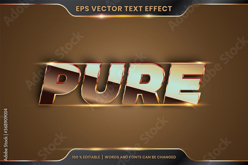 Carta da parati Text effect in 3d Pure words font styles theme editable metal gold and bronze co