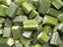 Diced Cut Green Color Raw Fresh Okra