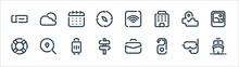 Travel Line Icons. Linear Set. Quality Vector Line Set Such As Ship, Doorknob, Lifebuoy, Map, Calendar, Wifi, Weather.