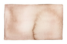Water Color Of Blank Clean Light Brown Paper Page. One Single Object, Rectangular Shape. Hand Painted Watercolour Graphic Drawing On White Backdrop, Isolated Clip Art Element For Design, Banner, Note.