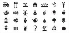 Farm Agriculture Theme Simple Vector Icon Logo Design Set Bundle Illustration
