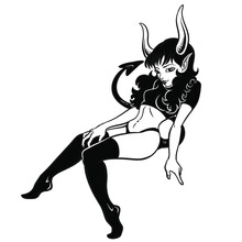 Sexy Devil Girl Vector Illustration On A White Background