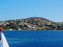 A Vessel Is Approaching Paros Island In Aegean Sea In Greece. Paros Located At The Heart Of The? Cyclades, One Of Famous Greek Travel Destinations For Tourism And Vacation.