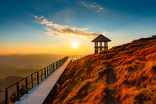 Beautiful Landscape Sunset On Top View Point Mountain At Doi Pui Co Mae Hong Son Province, Thailand