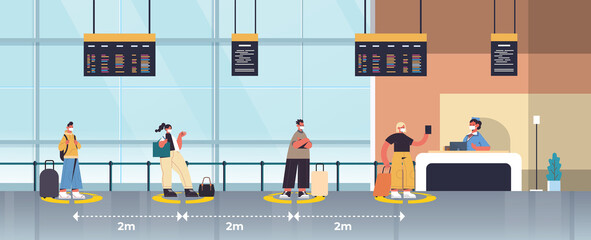 mix race passengers in protective masks standing at check-in counter keeping distance to prevent coronavirus social distancing concept airport terminal interior horizontal full length vector