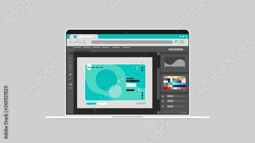 Obraz graphic editor on laptop screen creative content configuration design concept horizontal vector illustration - fototapety do salonu