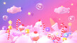 canvas print picture Cartoon sweet candy land. 3d rendering picture.