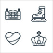 holland line icons. linear set. quality vector line set such as crown, holland, ice skating.