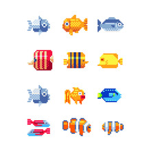 Tropical Fish Icon Set. Flat Illustration Sea Color Tropical Fish. Design Various Aquarium Fish Or Tropical Sea Fish. Isolated Pixel Art 80s Style Illustration.