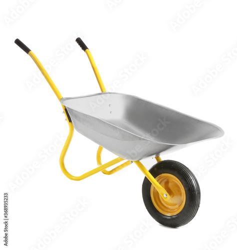 Tableau sur Toile Empty wheelbarrow on white background
