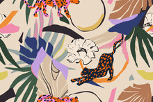 Hand Drawn Abstract Floral Pattern With Leopards. Creative Collage Contemporary Seamless Pattern. Natural Colors. Fashionable Template For Design.