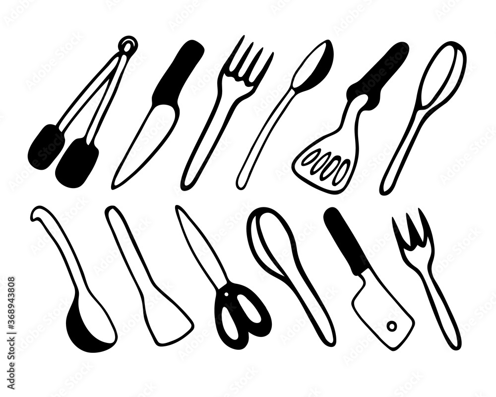 Fototapeta Black and white hand drawn vector doodle illustration with various cooking tools.