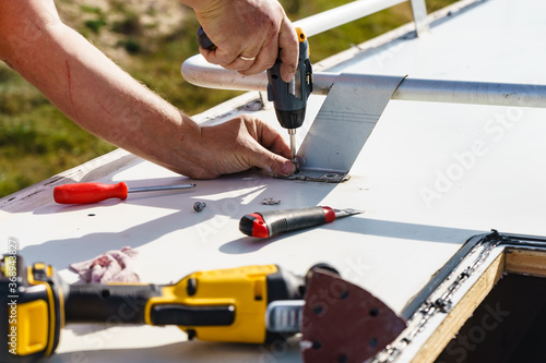RV caravan roof repair Fototapet