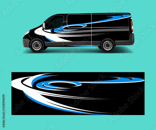 Fotografering Cargo van decal with green wave shapes , truck and car wrap vector, Graphic abst