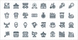 amusement park line icons. linear set. quality vector line set such as bumper boats, dinner table, pinwheel, food cart, ice cream, bumper car, unicycle, coffee.