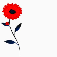 Floral Background With A Red F...
