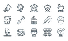 Circus Line Icons. Linear Set. Quality Vector Line Set Such As Clown, Showman, Acrobat, Jail, Platform, Lion, Corn Dog, Juggling, Monkey.