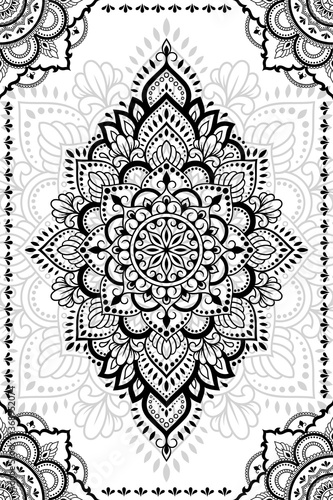 Stylized with henna tattoo decorative pattern for decorating covers book, notebook, casket, postcard and folder. Mandala and border in mehndi style. Frame in the eastern tradition.