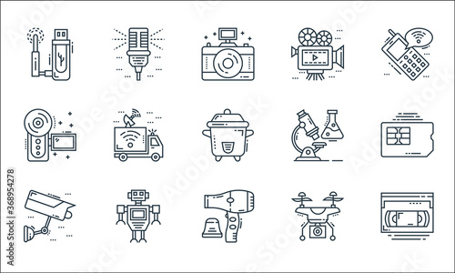 Fotografía technology devices line icons