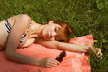 Beautiful Girl Lying Down Of G...