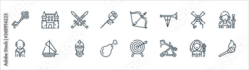 Fotomural medieval times line icons