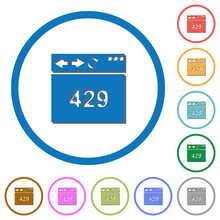 Browser 429 Too Many Requests Icons With Shadows And Outlines