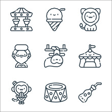 Circus Line Icons. Linear Set. Quality Vector Line Set Such As Soda, Platform, Monkey, Circus Tent, Trapeze Artist, Bearded Woman, Lion, Ice Cream.