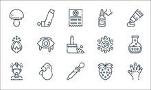 Allergies Line Icons. Linear Set. Quality Vector Line Set Such As Cyanosis, Eye Dropper, Headache, Strawberry, Peanut, Pollen, Virus, Nasal Spray, Inhaler.