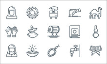 Ramadan Line Icons. Linear Set. Quality Vector Line Set Such As Book, Beads, Muslim, Ablution, Lamp, Praying, Quran, Ruku, Noon.