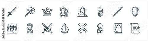 Fotografie, Obraz medieval times line icons