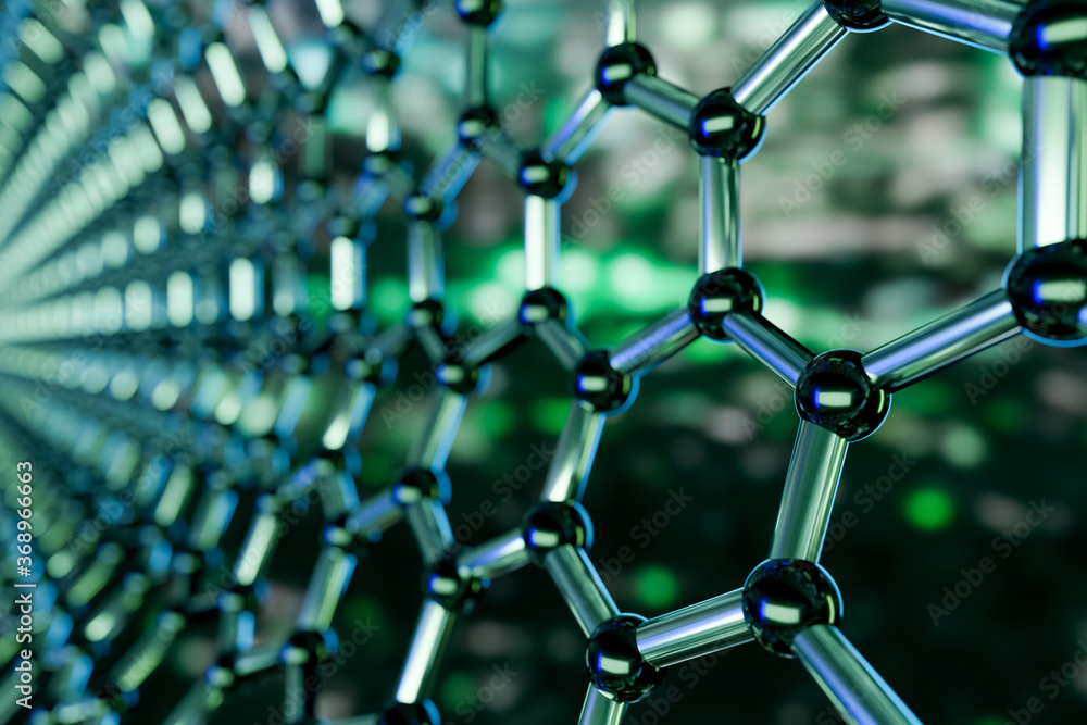 Fototapeta Graphene molecular nano technology structure on a green background - 3d rendering