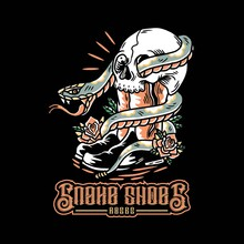 Hand Drawn Human Shoes, Skull Entwined By Snakes. Vector Illustration