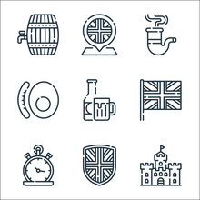England Line Icons. Linear Set. Quality Vector Line Set Such As Castle, Shield, Pocket Watch, United Kingdom, Beer, English Breakfast, Pipe, Placeholder.