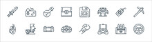 Videogame Line Icons. Linear Set. Quality Vector Line Set Such As Steering Wheel, Mobile Game, First Aid, Mouse, Explosive, Potion, Save File, Joystick.