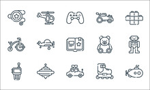 Children Toys Line Icons. Linear Set. Quality Vector Line Set Such As Submarine, Toy Car, Walkie Talkie, Roller Skate, Spinning Top, Tricycle, Teddy Bear, Car Toy, Helicopter.