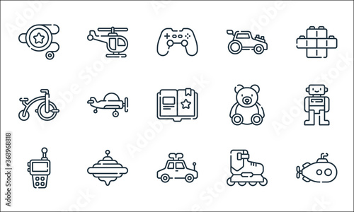 Foto children toys line icons
