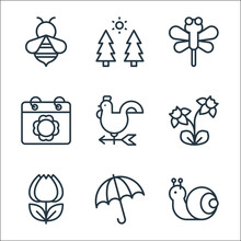 Flat Spring Line Icons. Linear...