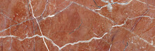 Closeup Surface Abstract Marble Pattern At The Pink Stone Floor Texture Background, Luxurious Wallpaper With Copy Space, Emperador Breccia Natural Pattern Of Marbel, Polished Quartz Slice Mineral.