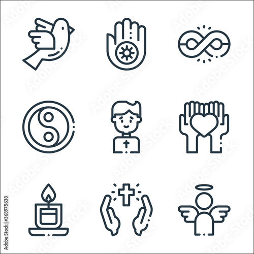 Fototapeta spiritual line icons. linear set. quality vector line set such as angel, cross, candle, heart, priest, yin yang, infinite, jainism. obraz na płótnie
