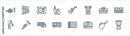 Fotografering music line icons