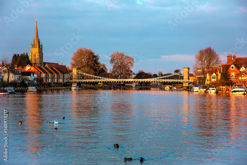 Marlow Bridge in Glorious Sunshine - A beautiful still March afternoon on The Ri Wallpaper Mural