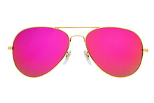 Pink Mirror Aviator Sunglasses Isolated On White Background