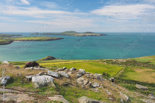Fototapeta View from the top of Carn Llidi at St Davids Head looking out over Ramsey Island