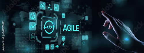Fototapeta Agile development methodology concept on virtual screen. Technology concept. obraz