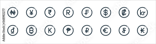 Fototapeta currency line icons