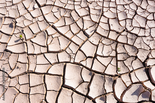 Valokuvatapetti Close up view onto cracks in ground relief & its structure, formed during long drought conditions