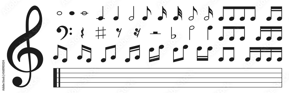 Fototapeta Set of musical notes. Black musical note icons. Music elements. Treble clef. Vector illustration.