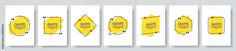Fototapeta Quote box frame, big set. Texting quote boxes. Blank template quote text info design boxes quotation bubble blog quotes symbols. Creative vector banner illustration.