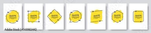 Fototapeta Quote box frame, big set. Texting quote boxes. Blank template quote text info design boxes quotation bubble blog quotes symbols. Creative vector banner illustration. obraz